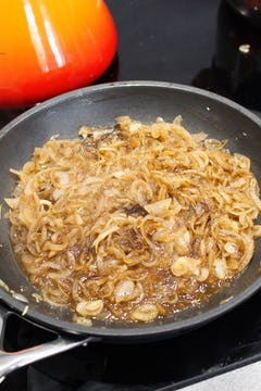 caramelised onion on a frying pan