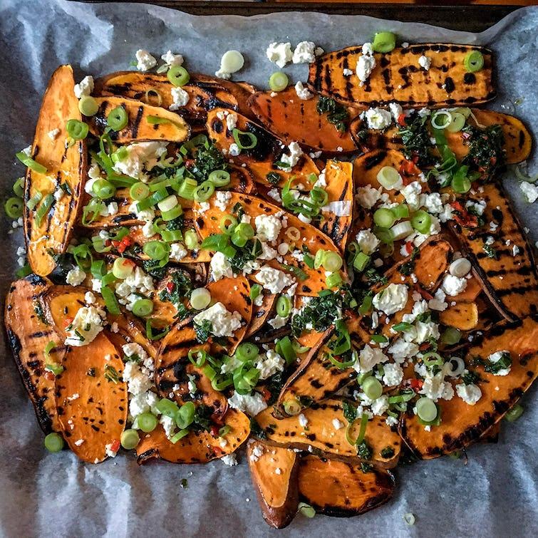 Biffen Kitchen's sweet potato salad on a baking tray.