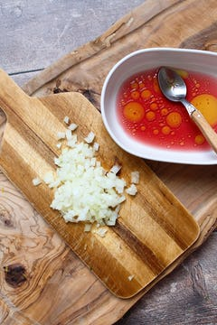 diced shallot and red wine vinegar to make shallot sauce