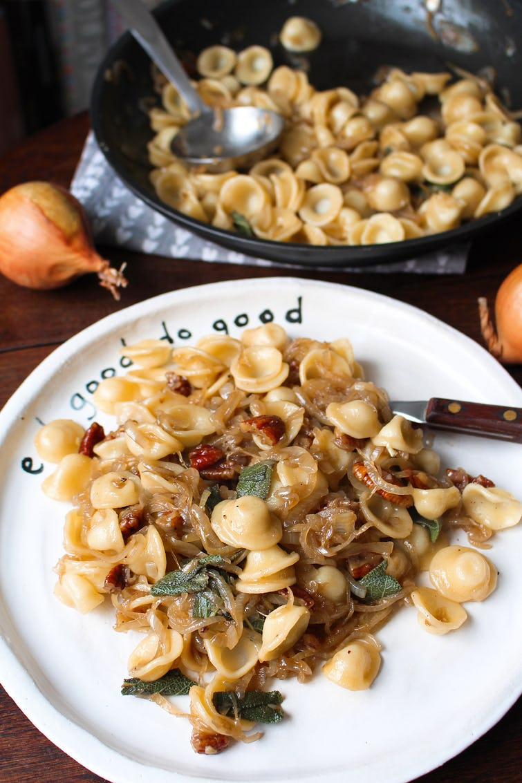 Onion pasta in Oddbox plate
