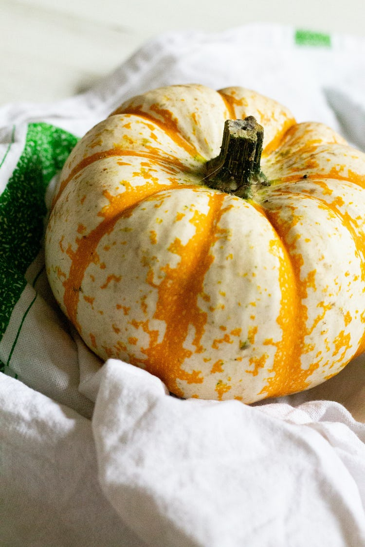 An orange pumpkin rested on a dishcloth.
