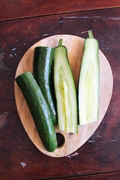 4 halved cucumber
