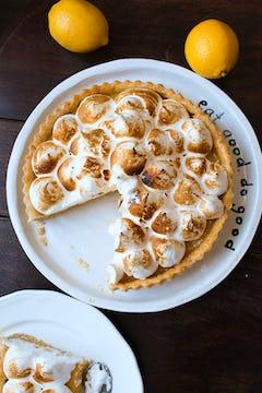Lemon meringue pie served on a plate
