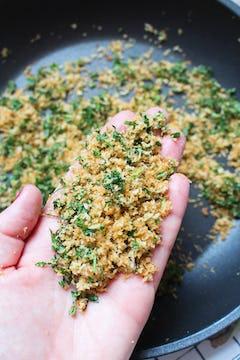fried panko breadcrumbs and parsley