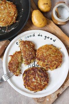 plate with 4 crispy potato rosti