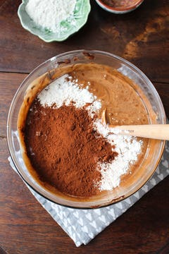 Chocolate with flour batter in a bowl
