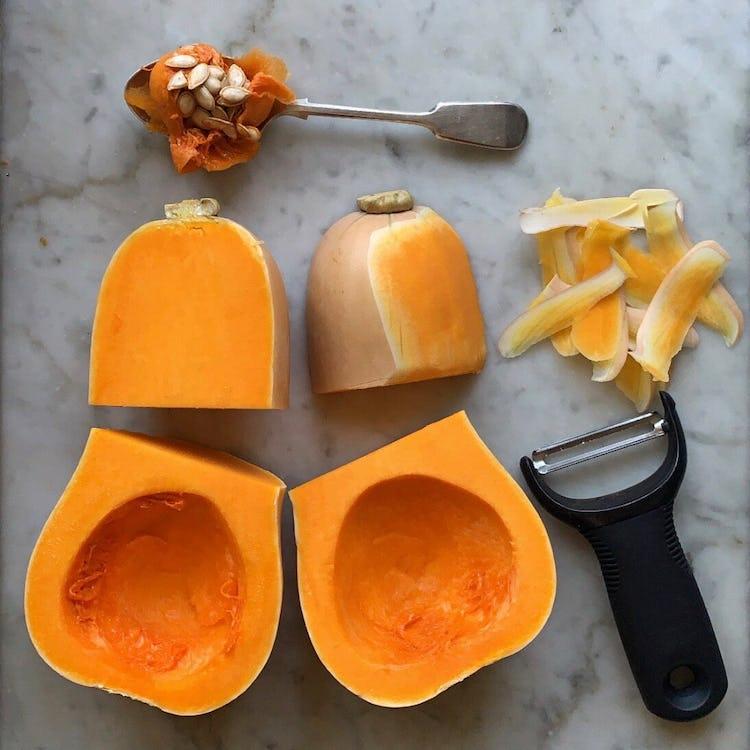Butternut squash cut into 4