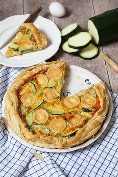 baked courgette and goat cheese quiche served on a pizza