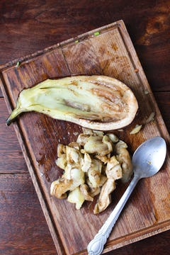 flesh removed from the aubergine to create a baot