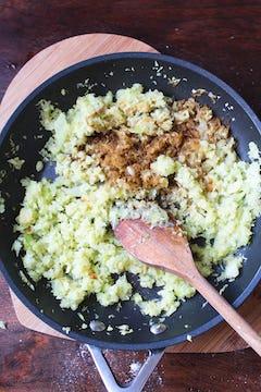 Celery cooking in frying pan
