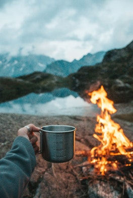 Open fire in the mountains