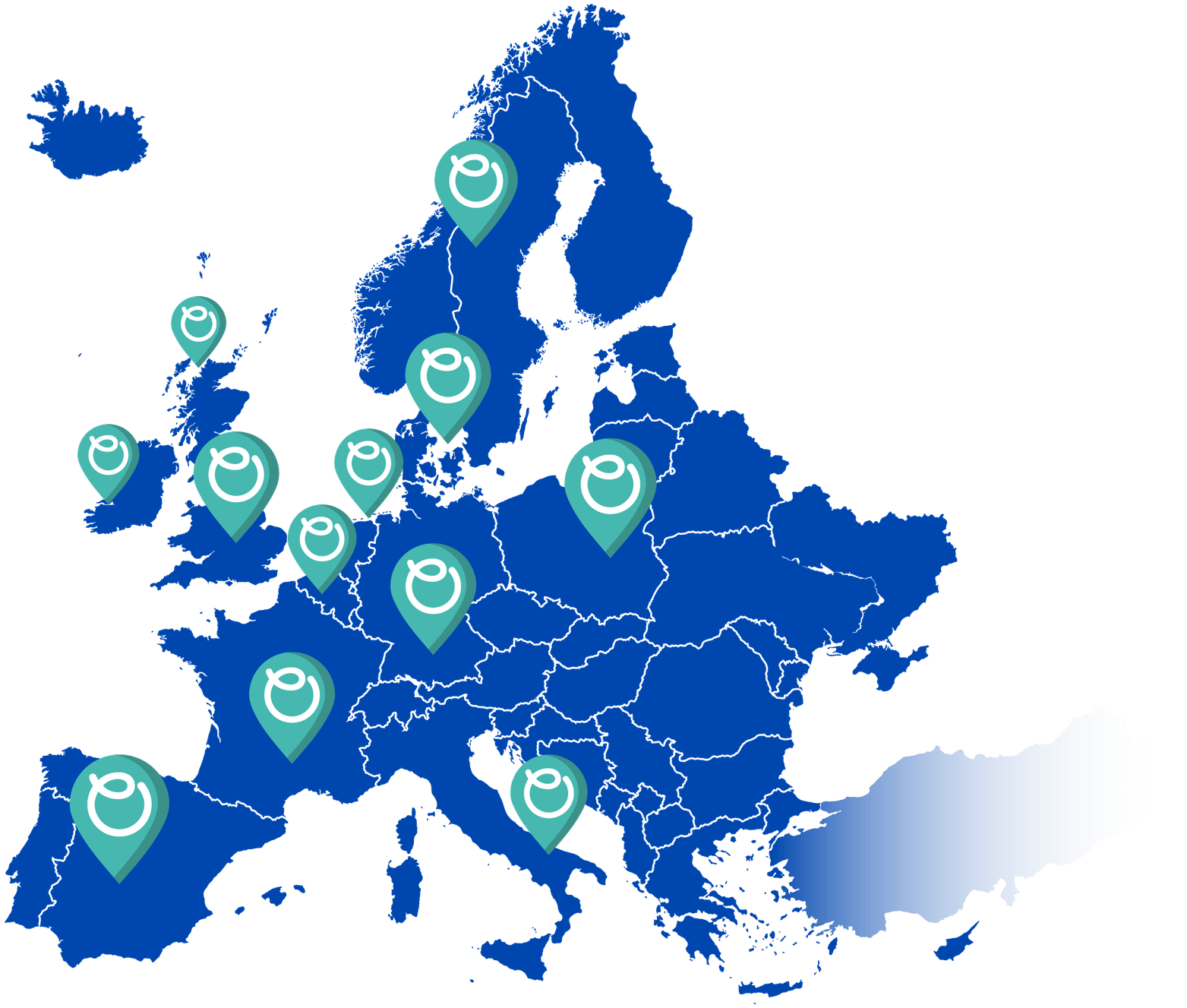 Ohme EV charger locations on map of Europe