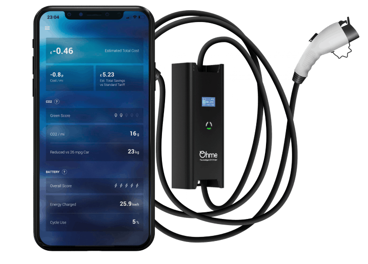 ohme smart EV charging mobile app and EV charger