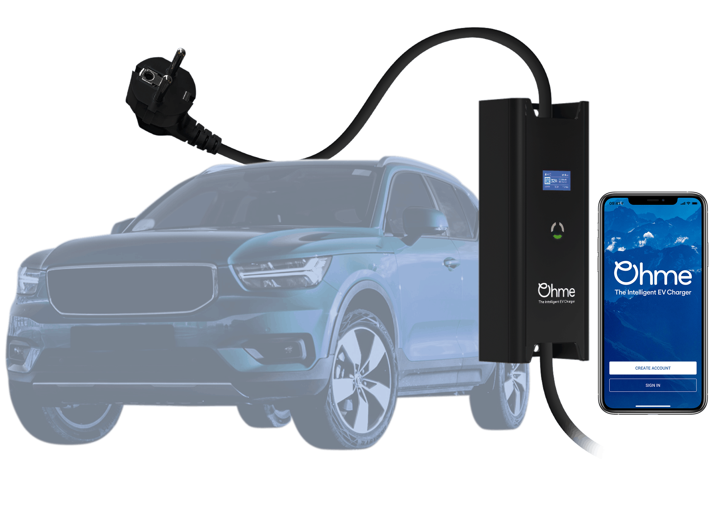 electric car charger with an EV and smart charging mobile app
