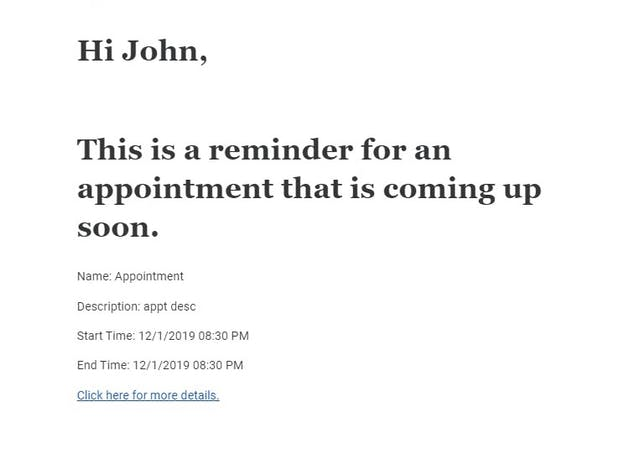 Email Reminder of Appointment