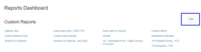 Custom Reports - Add New Report
