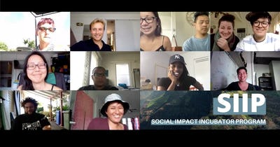 Image of people on a Zoom conference with Social Impact Incubator Program logo