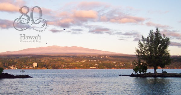 Photo of Hilo Bay with Hawai'i Community College's 80th Anniversary Logo