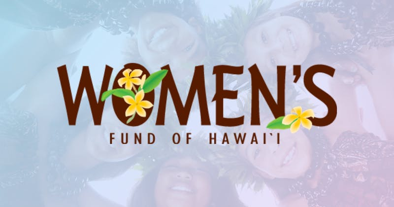 Image of Women's Fund of Hawaii logo over image of young women from Hawaii