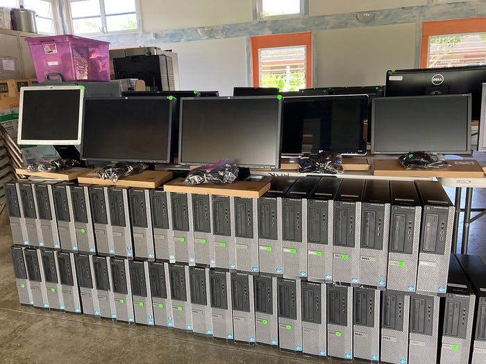 Photos of multiple computer towers, monitors, and other equipment