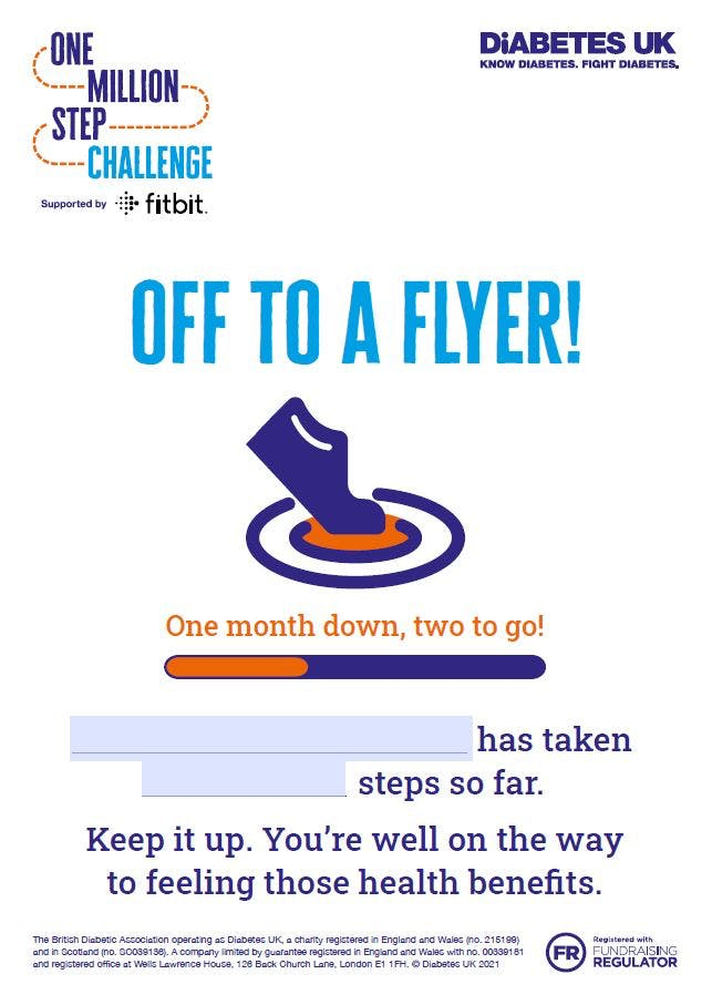 Million Steps 'Off to a flyer' certificate