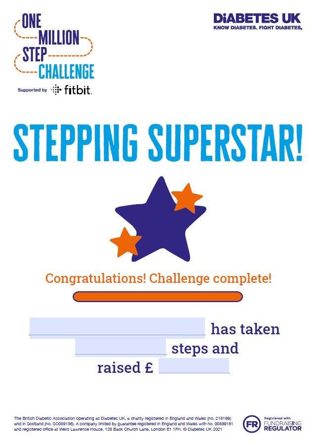Million Steps 'Stepping Superstar! certificate