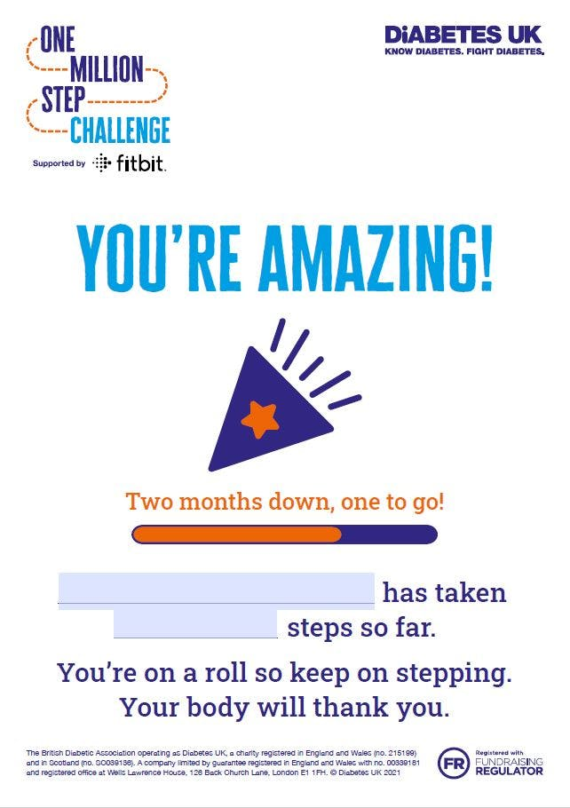 Million Steps 'You're Amazing!' certificate