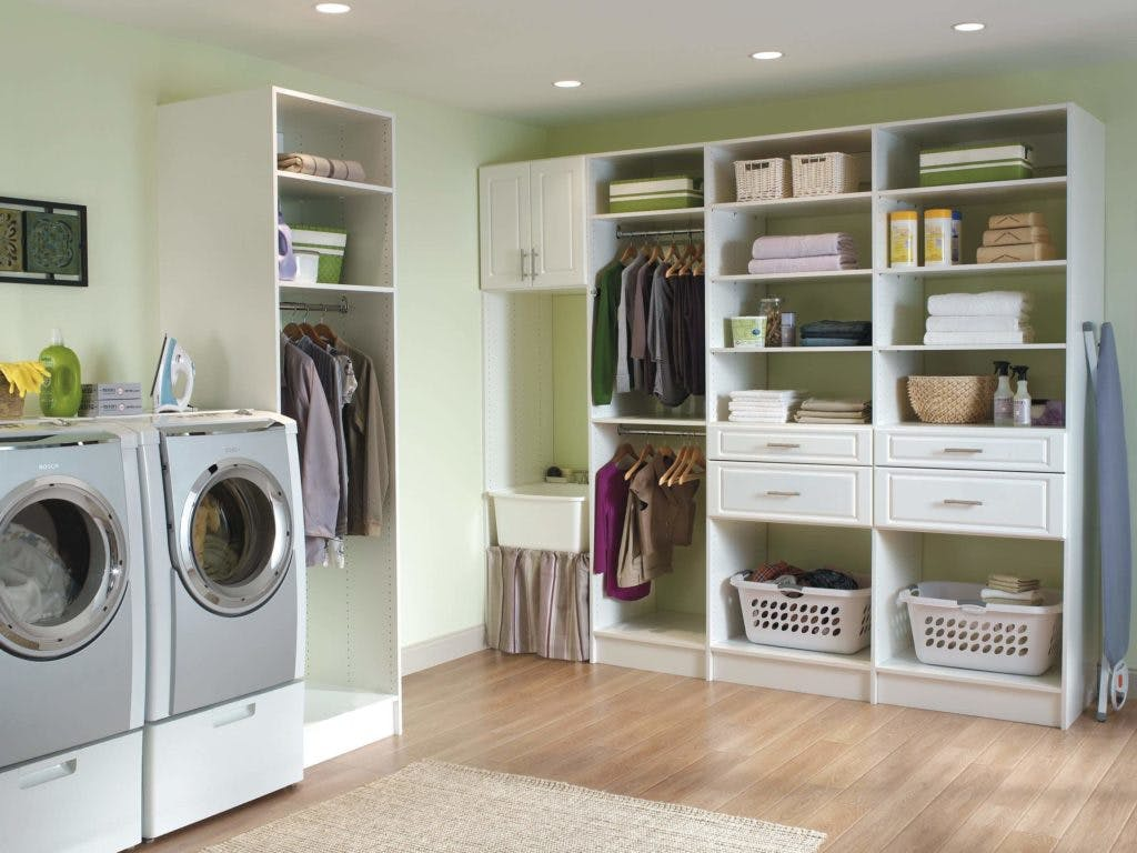 A custom laundry organizer with four drawers.