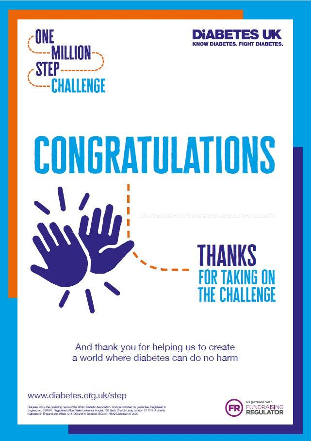 One Million Step Challenge 2020 certificate