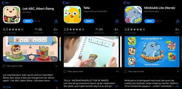 3 apper for barn: Lek ABC, Albert Åberg, Tella og Miniklubb Lite