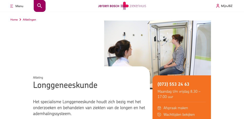 Afdelingspagina Jeroen Bosch Ziekenhuis website