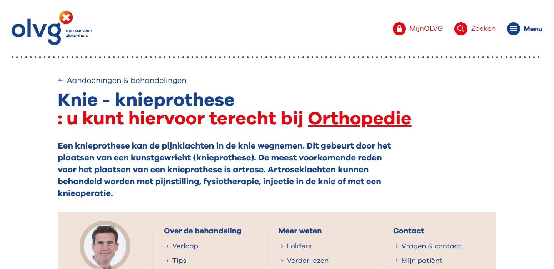 Behandelpagina OLVG Ziekenhuiswebsite