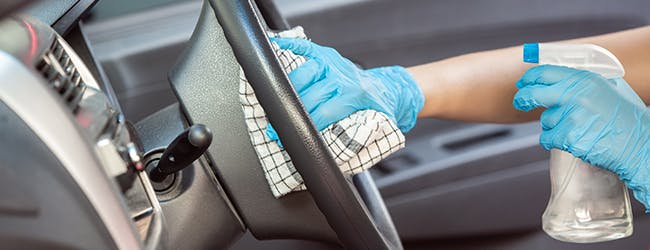 Disinfecting a car steering wheel