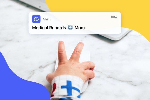 Baby hand on computer mouse.  Email of Medical Records to Mom.  Representing sharing medical records with family.