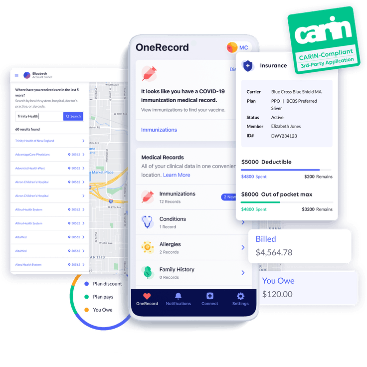 Views of the insurance and records pages on the OneRecord App