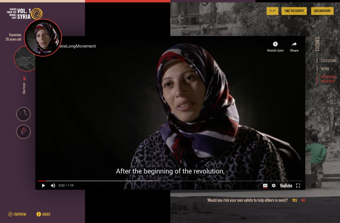 Inline video player, showing sample of a interview from the documentary.