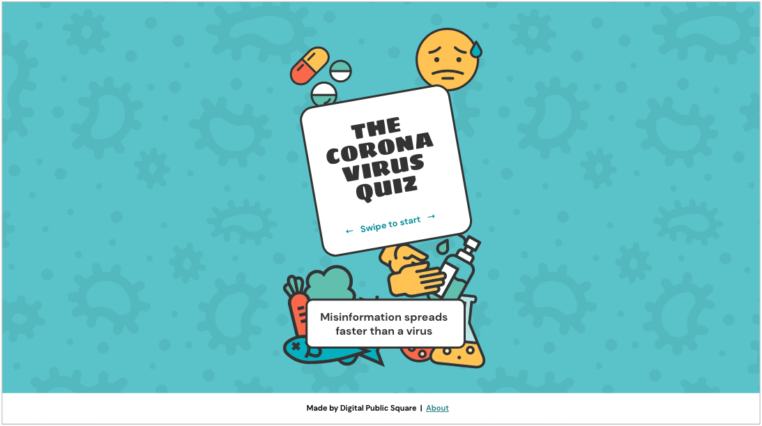 The Coronavirus Quiz homepage screenshot (top header reads: misinformation spreads faster than a virus).