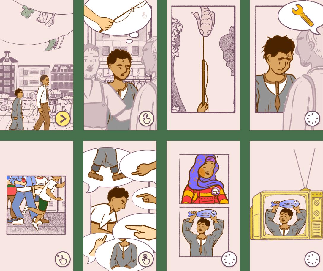 Various in-game illustrations representing memories.