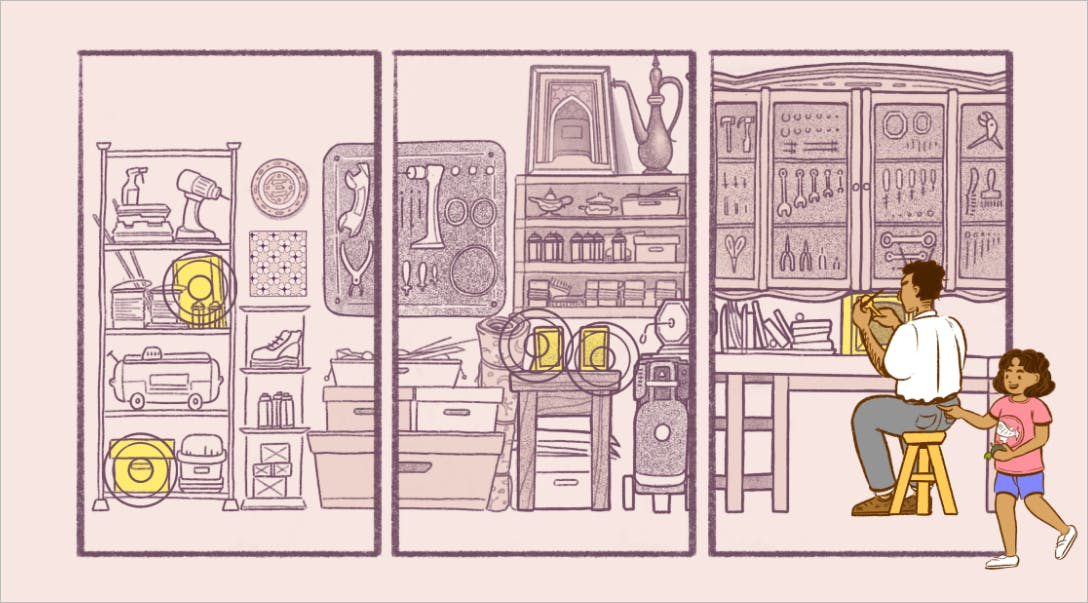 In-game illustration of a young girl approaching her father while he's busy fixing a TV.
