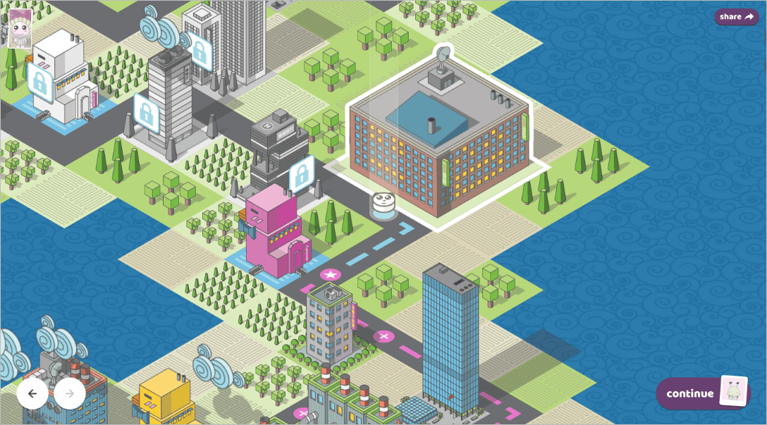 An isometric city landscape that represents the game board.