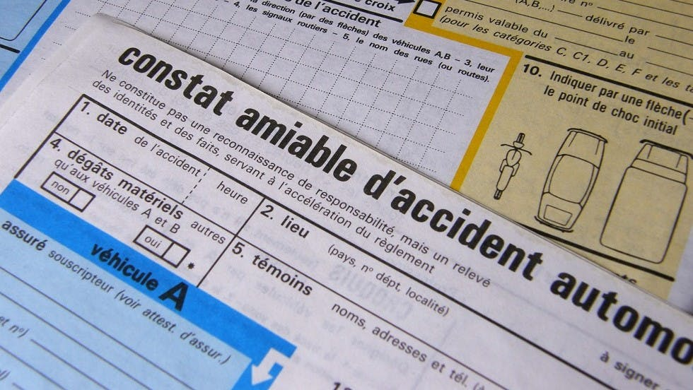 Constat a l'amiable a rediger suite a un accident de al route
