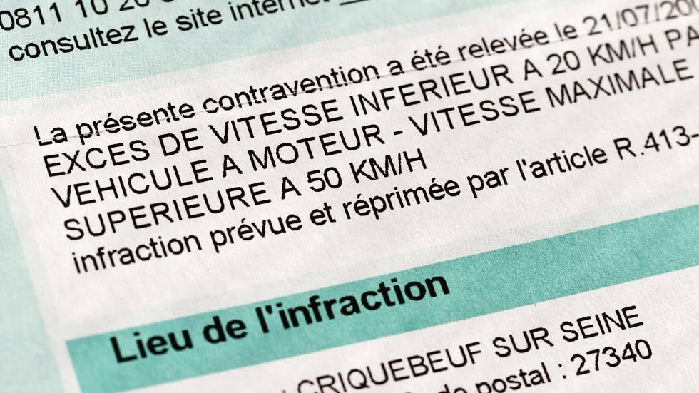 Contravention suite a un exces de vitesse