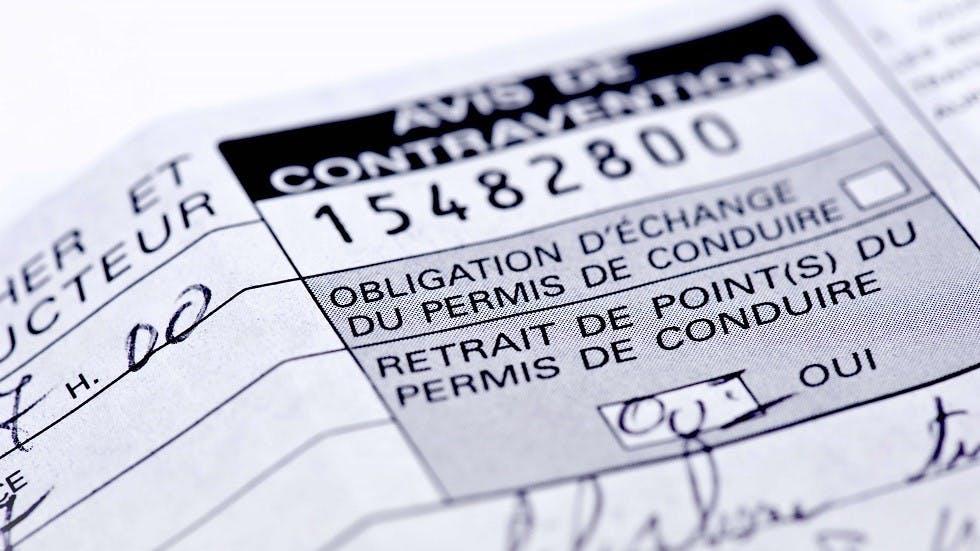 Avis de retrait de permis suite a une contravention