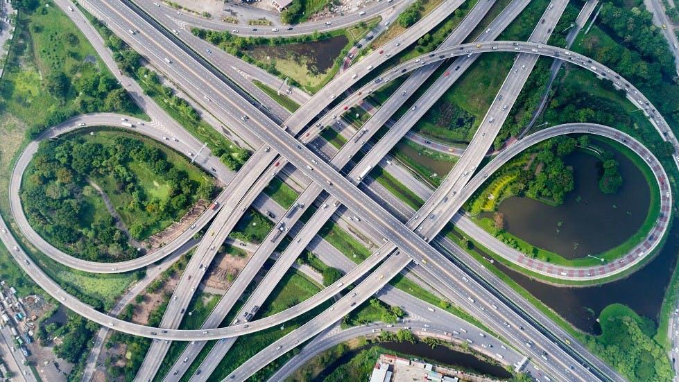 Echangeur double sur les autoroutes