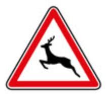 Schéma représentant un panneau de zone de passage d'animaux sauvages.