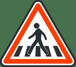 Panneau de danger de traversee de pietons