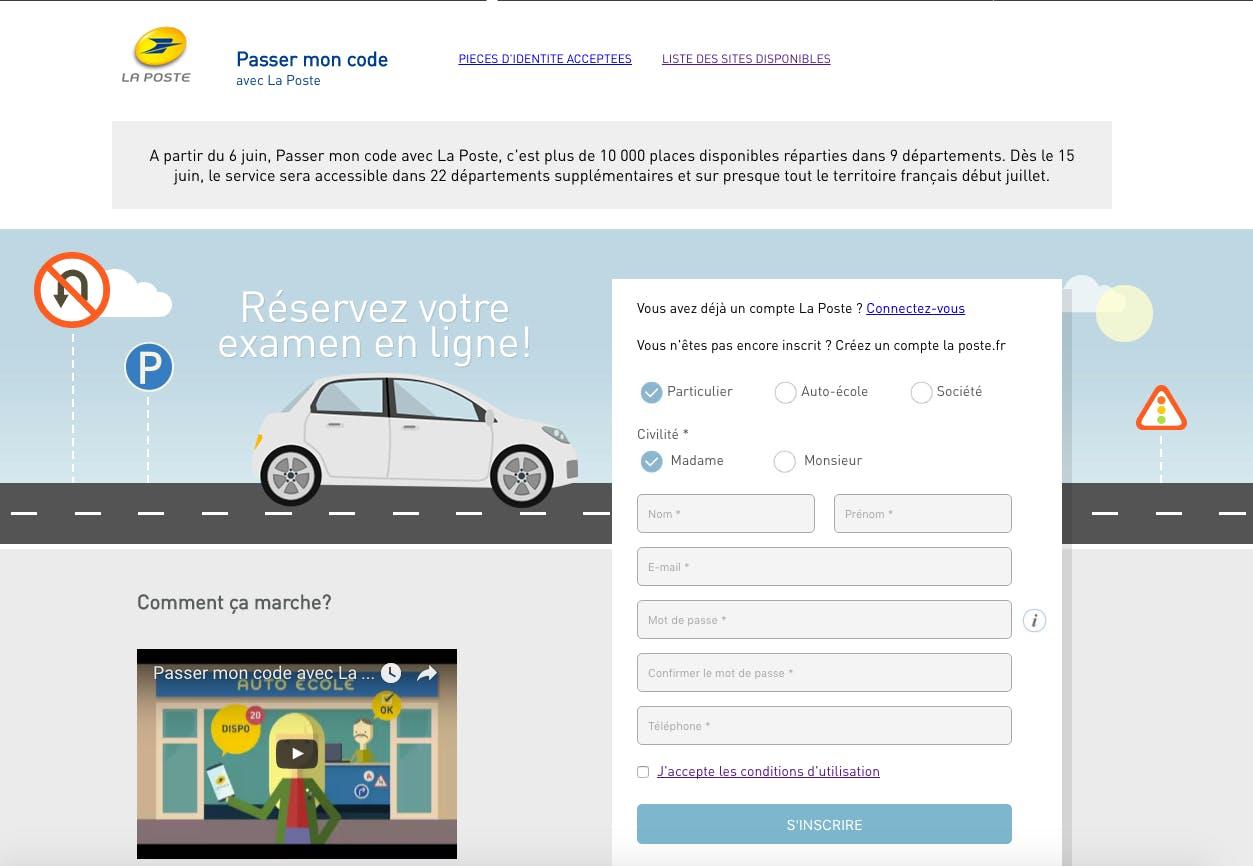 Réserver sa place au code sur le site de La Poste
