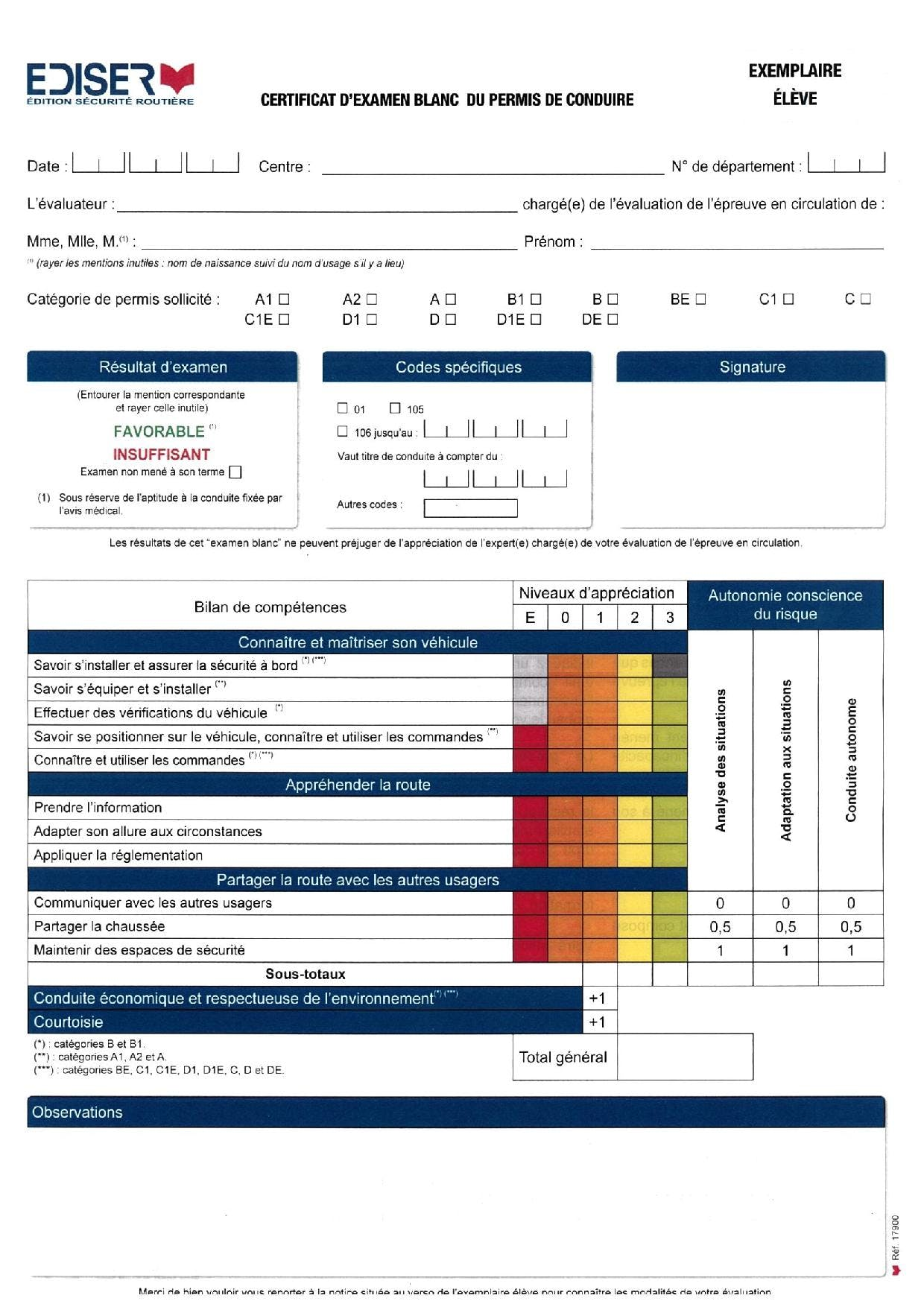 Permis B : grille d'évaluation