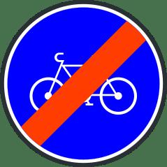 Panneau de fin de bande ou piste cyclable obligatoire