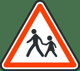 Panneau de danger d'endroit frequente par des enfants